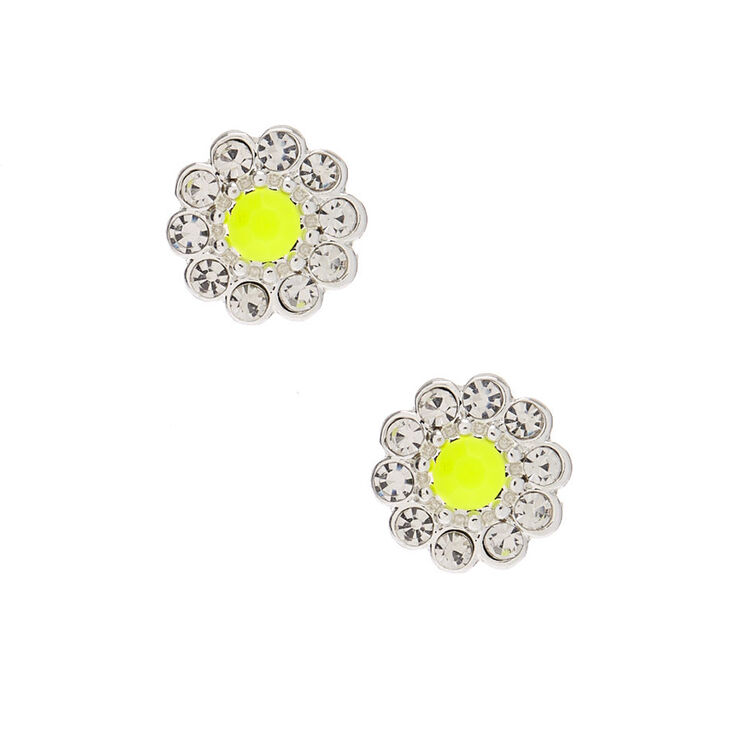 Silver Embellished Flower Stud Earrings - Yellow,