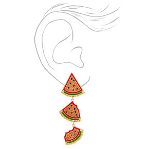 "Gold 2"" Watermelon Linear Drop Earrings,"