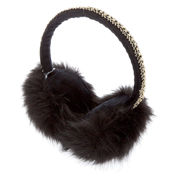 Furry Bling Band Ear Muffs - Black,