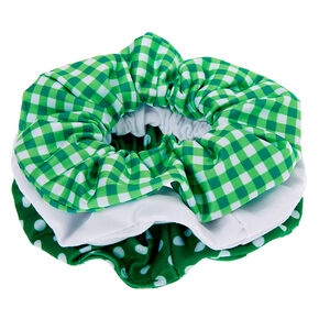 Patterned Hair Scrunchies - Green, 3 Pack,