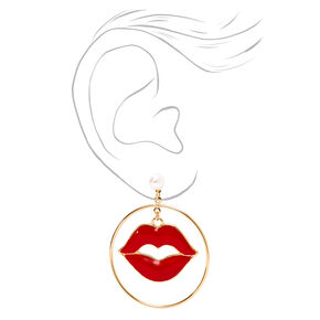 Red Enamel Lips Gold Drop Earrings,