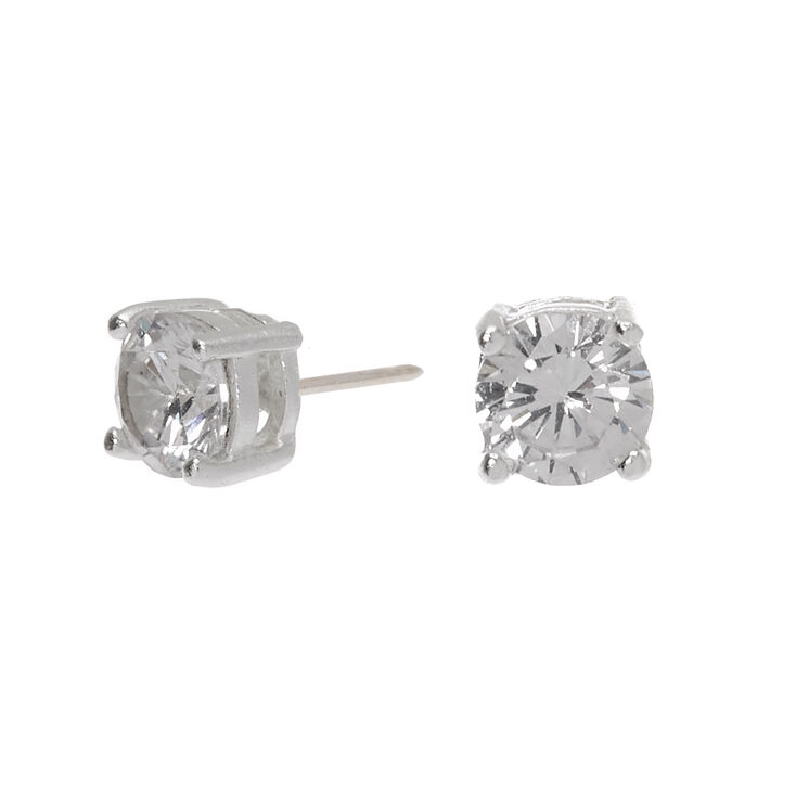 Sterling Silver Cubic Zirconia Round Basket Stud Earrings - 4MM,