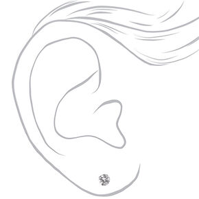 Silver Cubic Zirconia Love Setting Round Stud Earrings - 6MM,