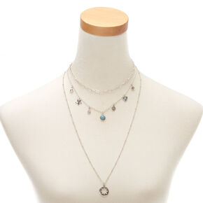 Silver Link Charm Multi Strand Necklace,