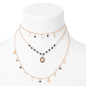 Gold Stars & Hearts Multi Strand Necklace,
