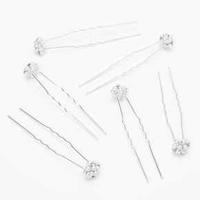 Silver Faux Pearl Cluster Hair Pins - 6 Pack,