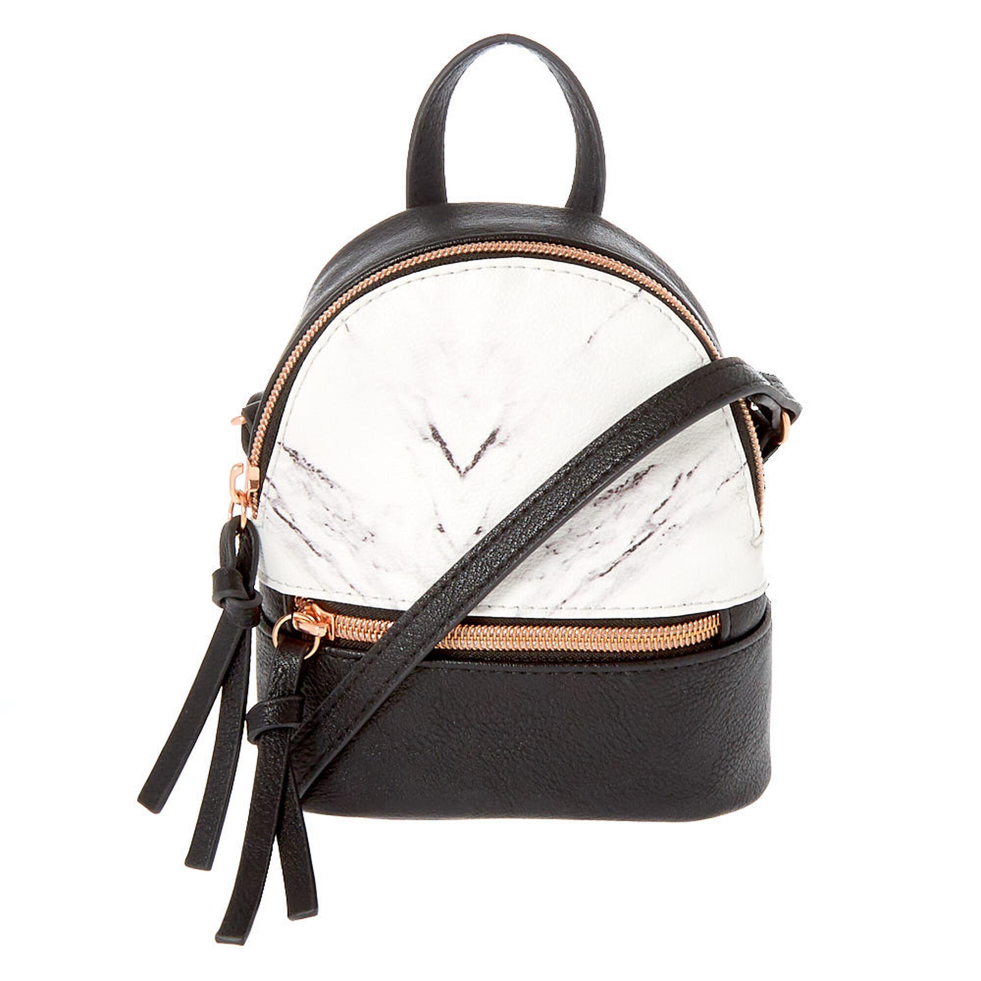 5eea3b32c Marble Mini Backpack Crossbody Bag - Black