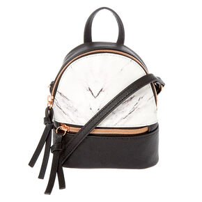 Marble Mini Backpack Crossbody Bag - Black,