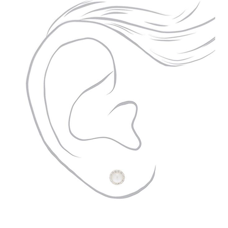 Silver Pearl & Crystal Stud Earrings,