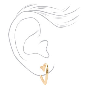 Gold 20MM Heart Hoop Earrings,
