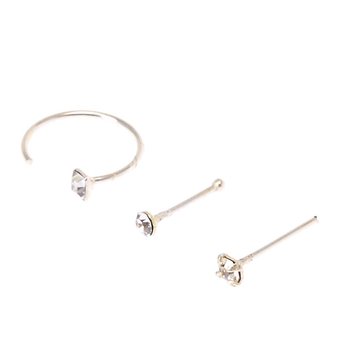 Sterling Silver Studs And Square Half Hoop Nose Rings