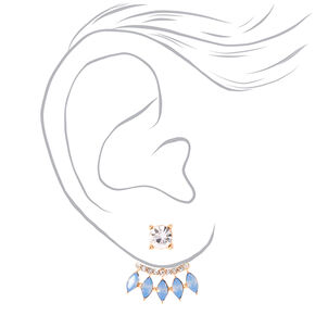 Rose Gold Simulated Crystal Ear Jacket Earrings - Blue,