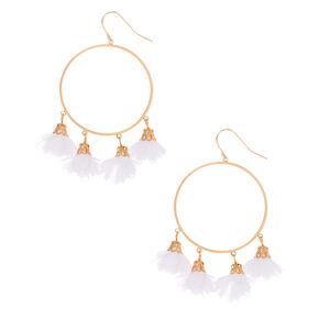 "Gold 1.5"" Flower Hoop Drop Earrings - White,"