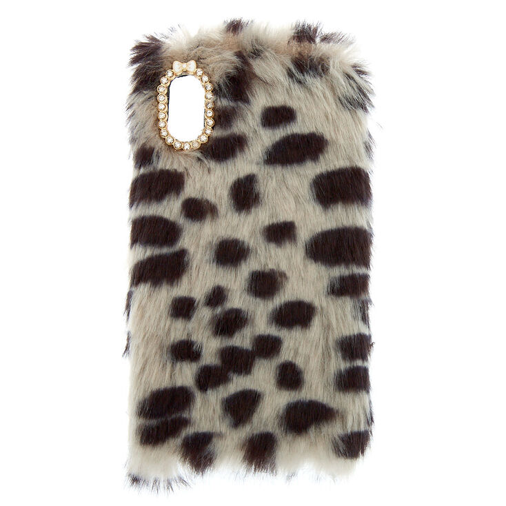 Spotted Faux Fur Phone Case - Fits iPhone X/XS,
