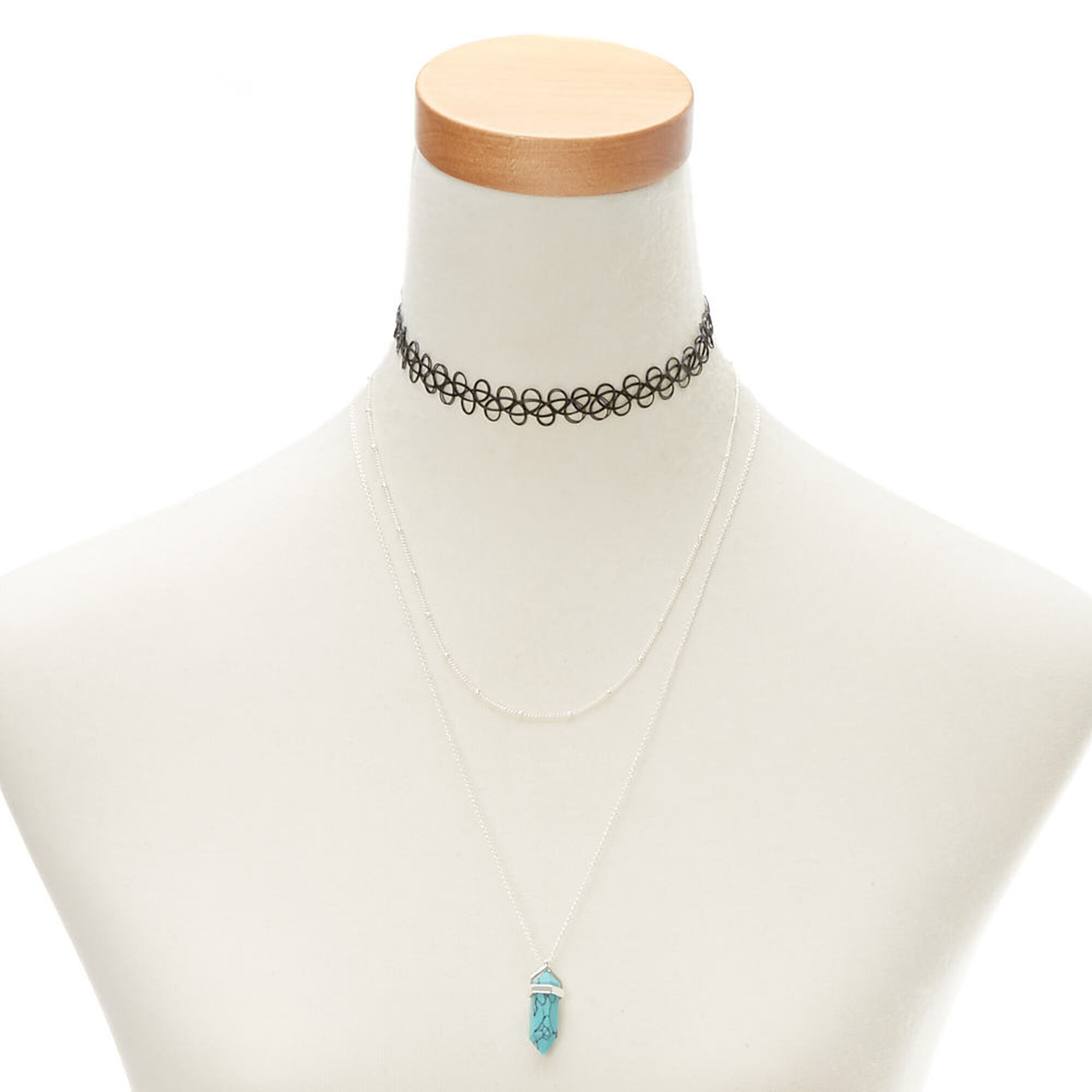 bf9d9a499132b Turquoise Marble Stone Necklace Set