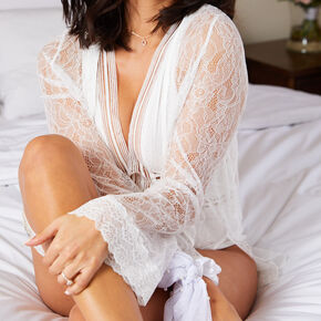 White Lace Crochet Robe - L/XL,