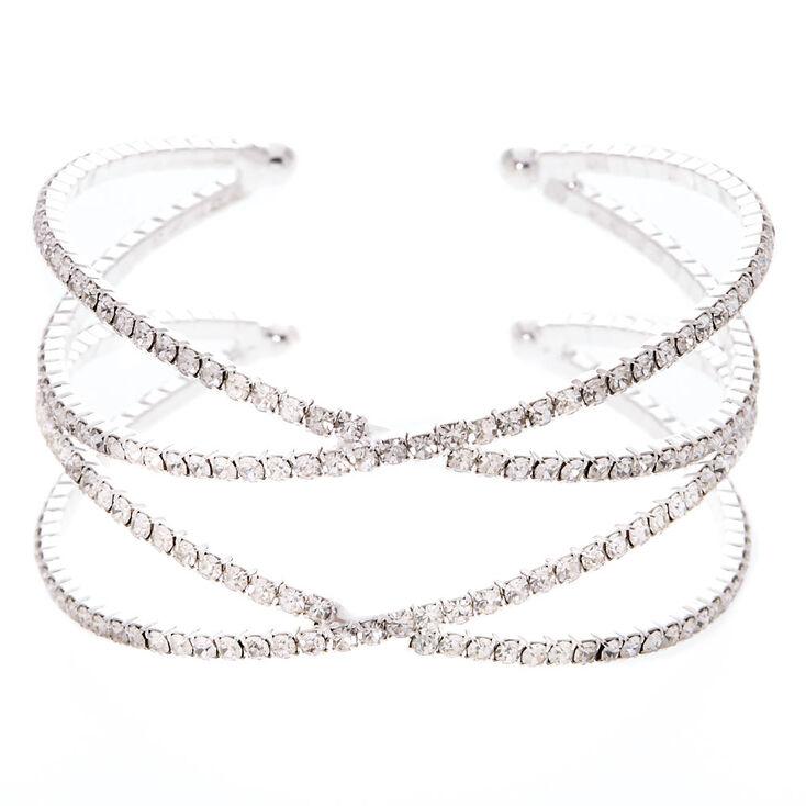 Silver Rhinestone Double Criss Cross Cuff Bracelet,