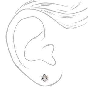 Silver Embellished Flower Heart Stud Earrings - 3 Pack,