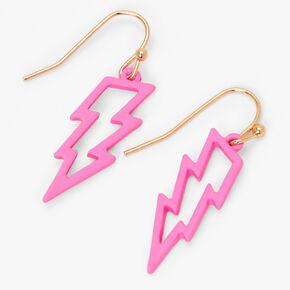 """Gold 1"""" Rubber Lightning Bolt Drop Earrings - Pink,"""