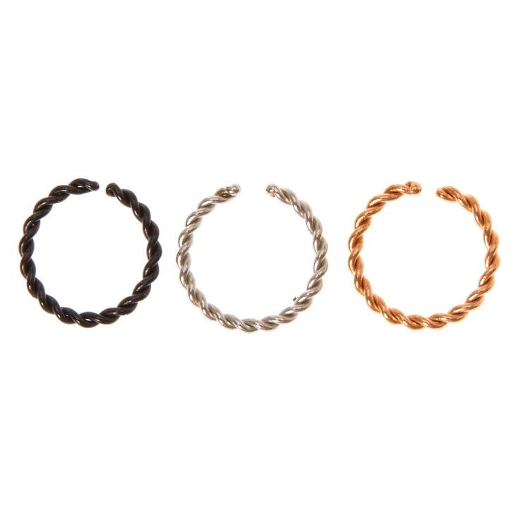Mini Mixed Metal Twisty Helix Rings,