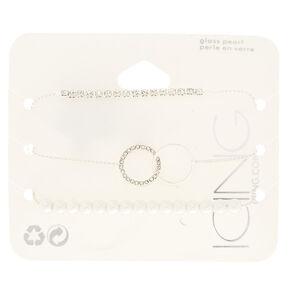 Silver Embellished Adjustable Bracelets - 3 Pack,
