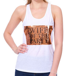 Wife of the Party Reversible Sequin  Tank Top - White,