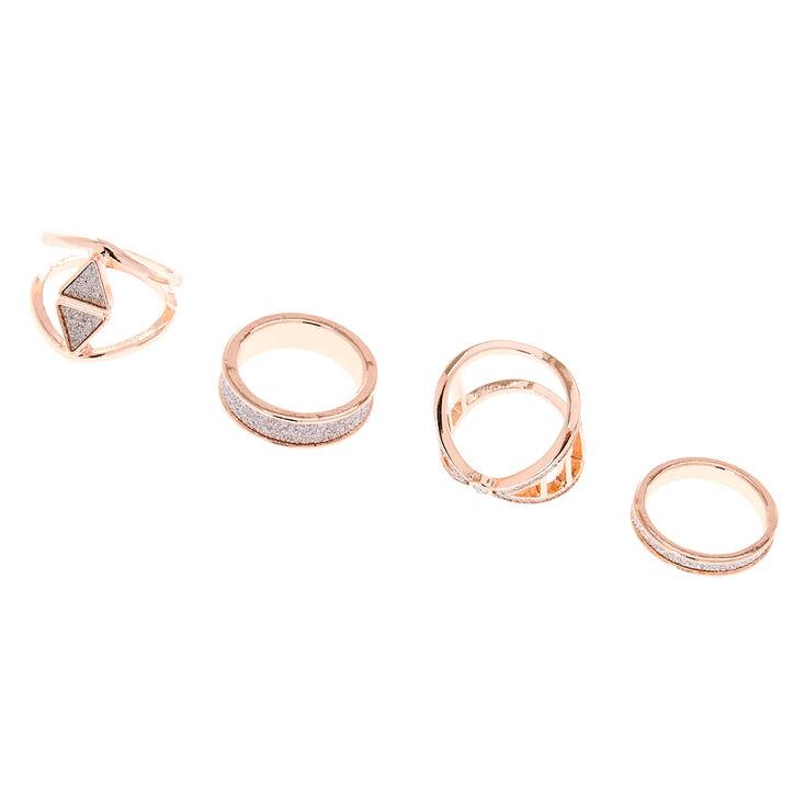 Rose Gold Silver Glitter Rings - 4 Pack,