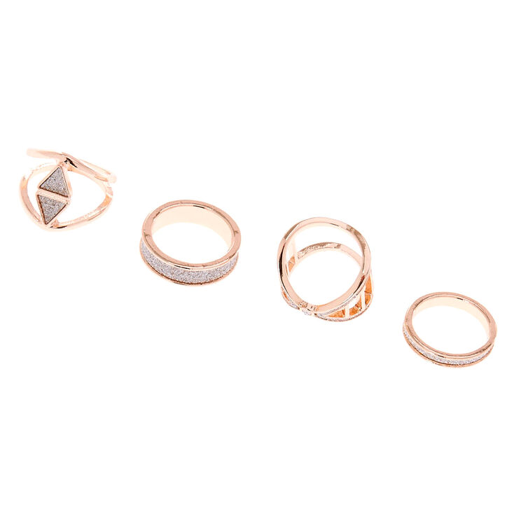 Rose Gold Silver Glitter Rings - 4 Pack,