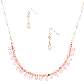 Iridescent Bead Jewelry Set - Pink, 2 Pack,