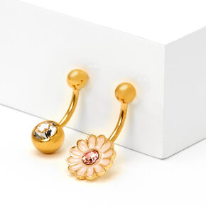 Gold 14G Crystal Daisy Belly Rings - Pink, 2 Pack,