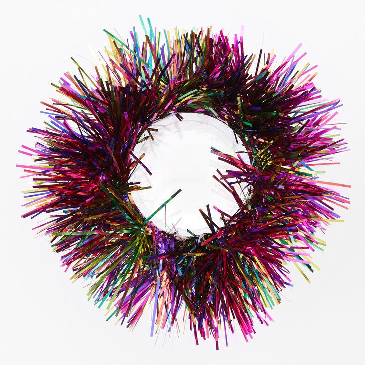 Medium Rainbow Tinsel Hair Scrunchie,