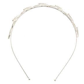 Silver Rhinestone Leaf Headband,
