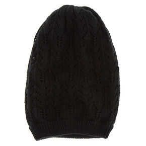 Double Layer Knit Beanie - Black,
