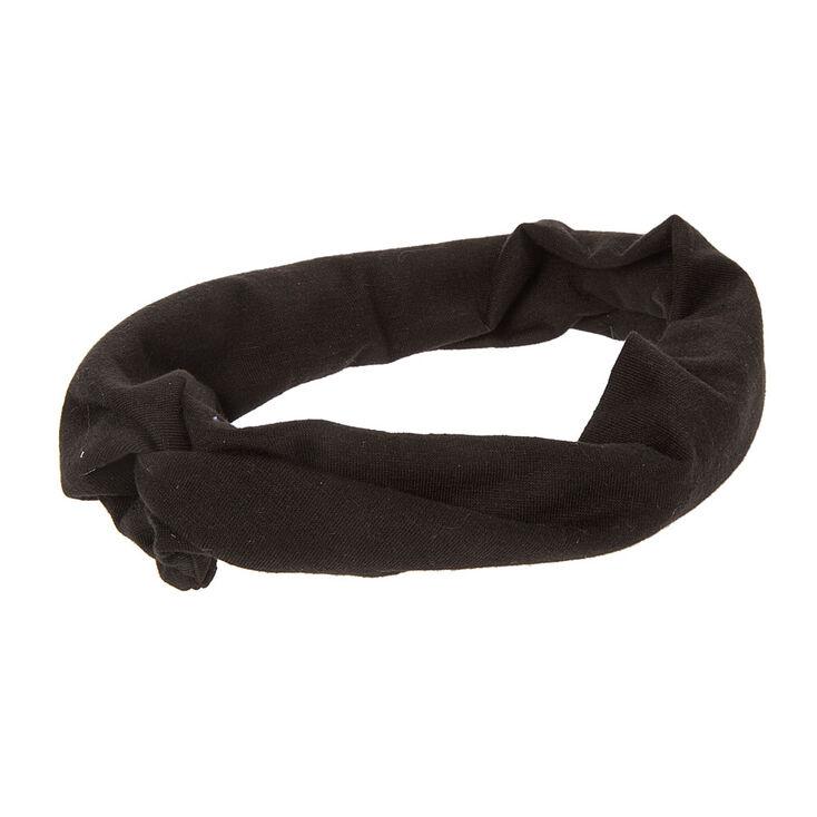 Wide Black Jersey Turban Headwrap,