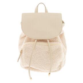 Sherpa Drawstring Midi Backpack - Ivory,