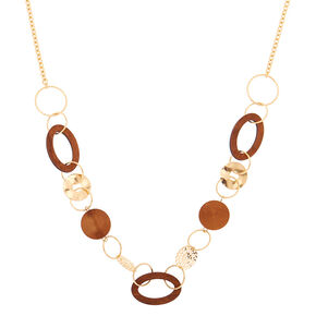Gold Wooden Link Statement Necklace,