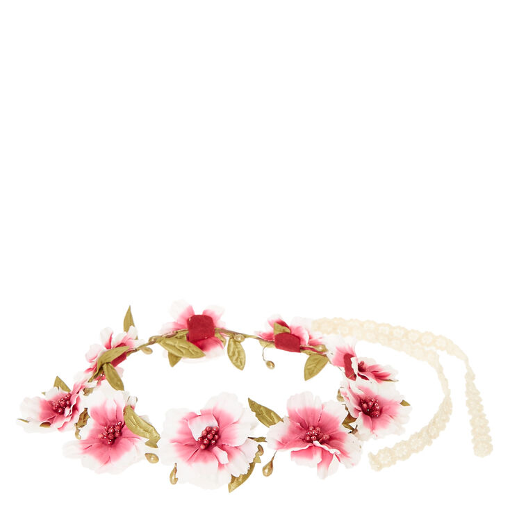 Pink Ombre Flower & Seed Bead Hair Garland,