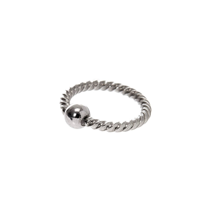 Silver 16G Twisted Cartilage Hoop Earring,