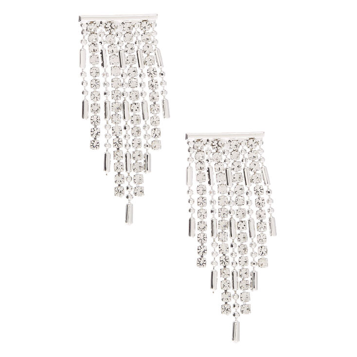 60s -70s Jewelry – Necklaces, Earrings, Rings, Bracelets Icing Silver Rhinestone 1 Fringe Drop Earrings $9.99 AT vintagedancer.com
