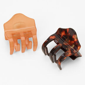 Mini Solid Tortoiseshell Hair Claws - Nude, 2 Pack,
