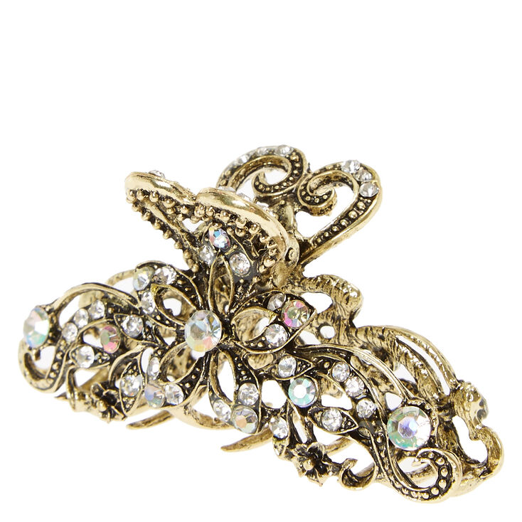Gold Burnished Vintage Filigree Hair Claw,
