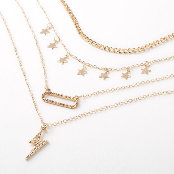 Gold Starry Lightning Bolt Multi Strand Necklace,