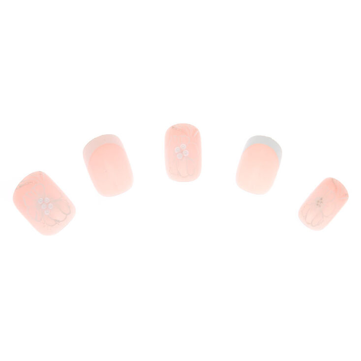 Fancy Flower French Tip Faux Nail Set - Nude, 24 Pack,