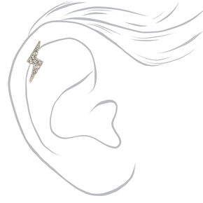 Silver Crystal Lightning Bolt Cartilage Earrings - 3 Pack,