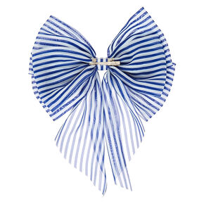 Giant Navy & White Stripe Bow,