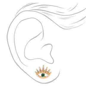 Gold Evil Eye Starburst Stud Earrings - Green,