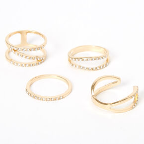 Gold Embellished Geometric Rings - 4 Pack,