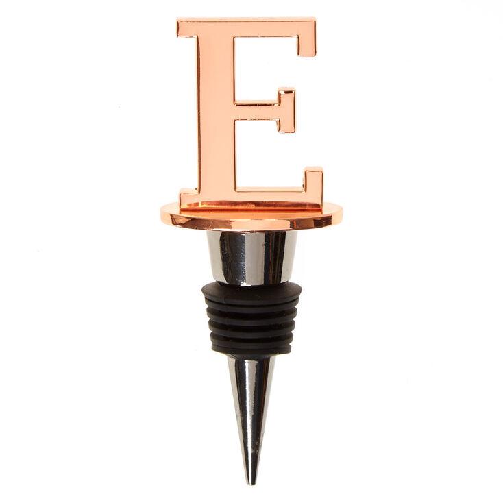 """Metallic Monogram Letter """"E"""" Wine Stopper,"""