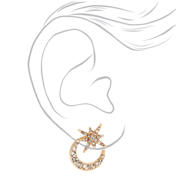 Gold Embellished Crescent Moon Starburst Stud Earrings,