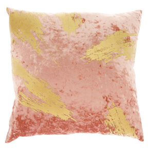 Gold Foil Velvet Pillow - Pink,
